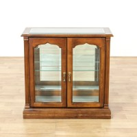 Small Cherry Glass Display Case Cabinet   Loveseat Vintage ...