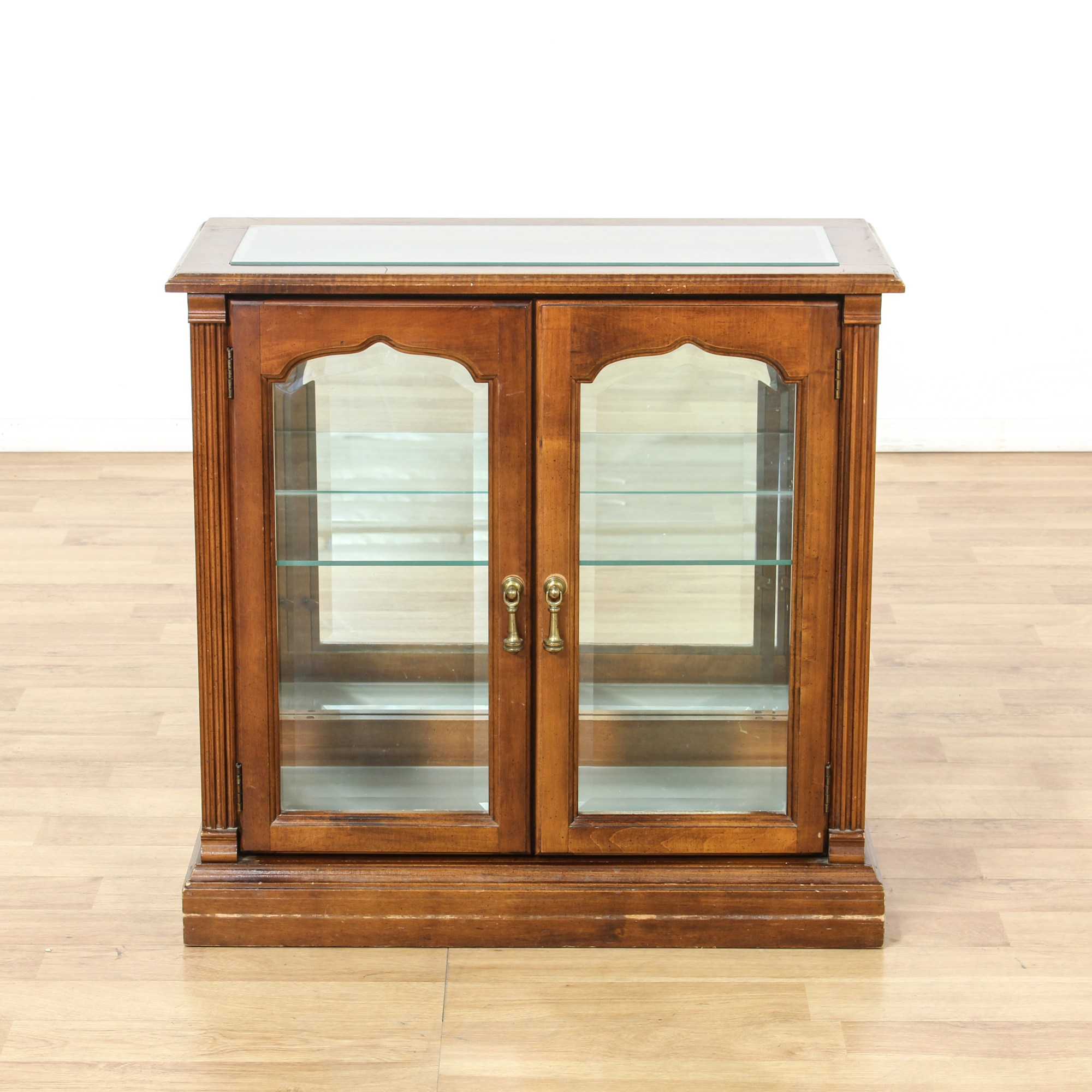 Small Cherry Glass Display Case Cabinet  Loveseat Vintage