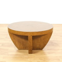 Contemporary Round Thick Wood Coffee Table | Loveseat ...