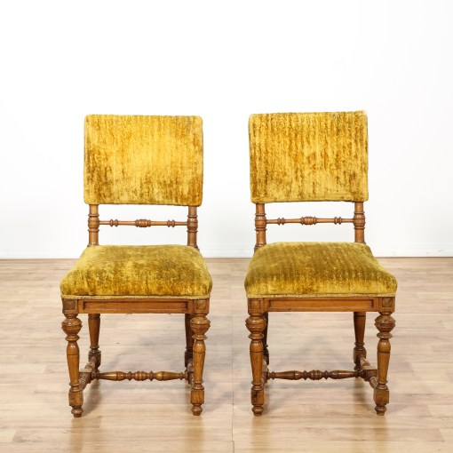 Pair of Mustard Yellow Velvet Accent Chairs  Loveseat