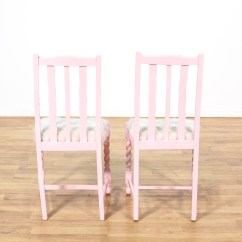 Fuzzy Desk Chair Home Goods Pair Of Pink Chairs W White Seats Loveseat