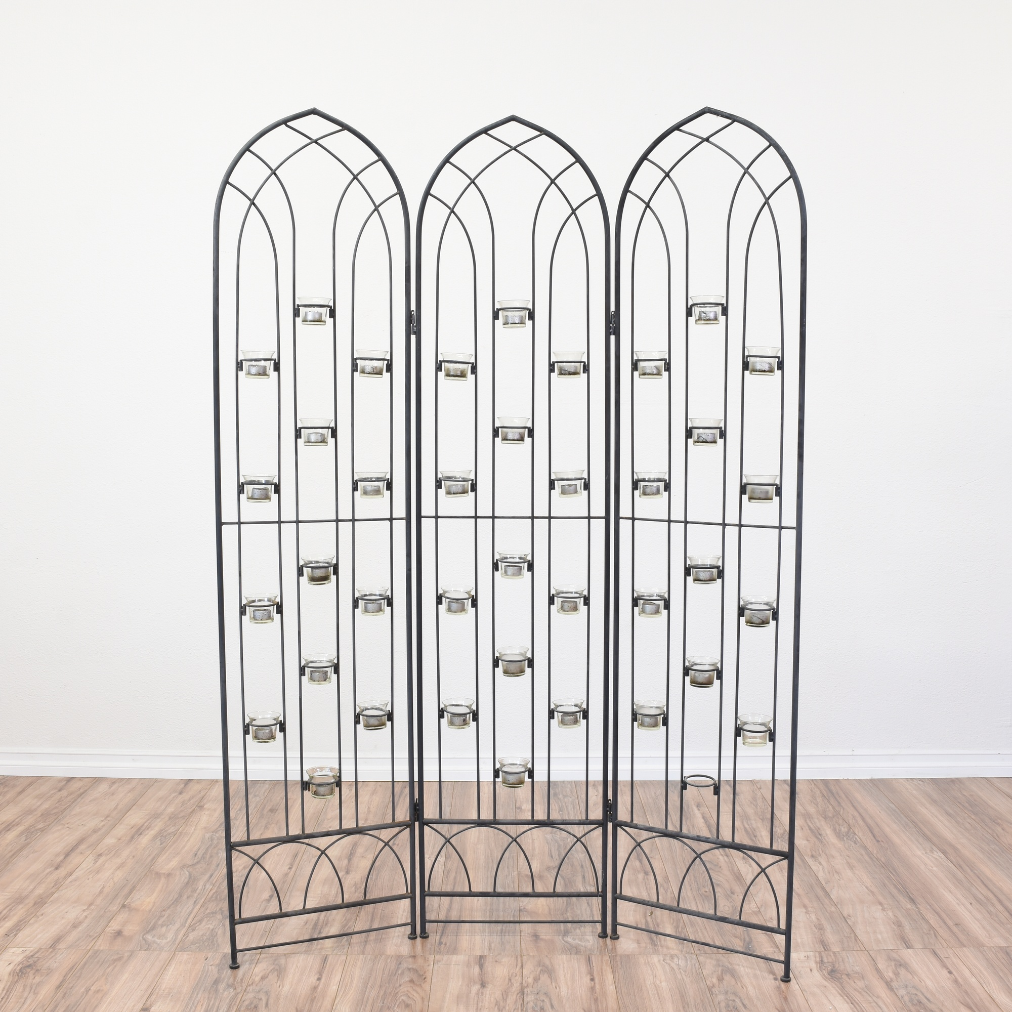 Black Bent Metal Room Divider Candle Holder Loveseat Online Auctions San Diego