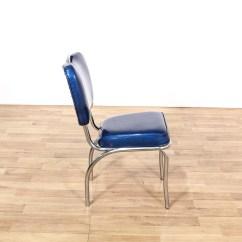Retro Chrome Chairs Antique Stroller High Chair Dinette Set W 4 Blue Vinyl Loveseat