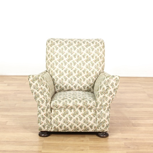 Cottage Chic Cream Woven Floral Armchair Loveseat