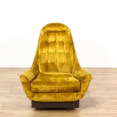 Tufted Yellow Chair Recliner Mid Century High Back Swivel