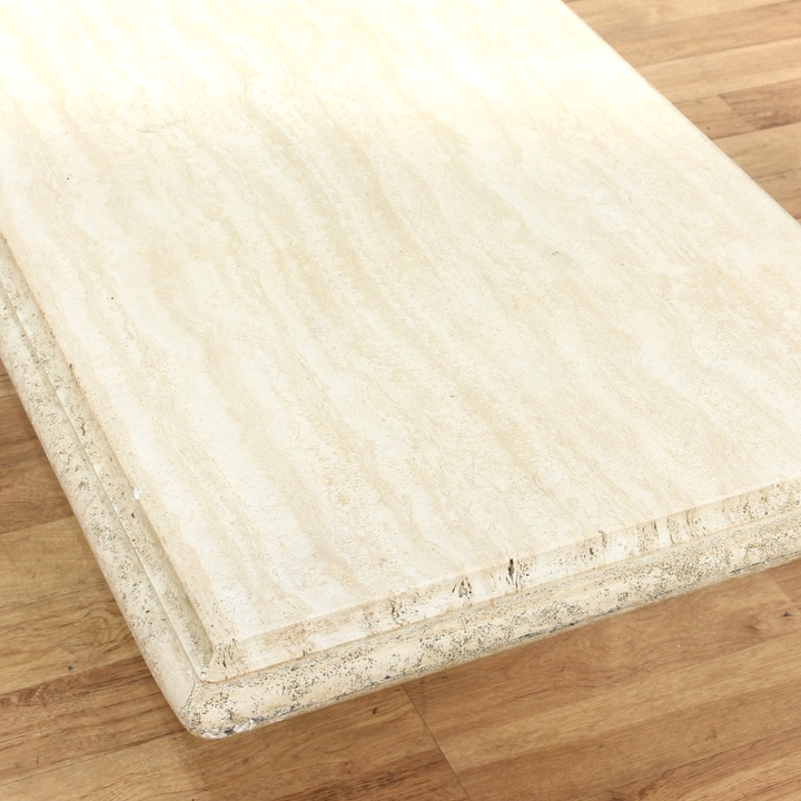 Rectangular Cream Colored Stone Coffee Table