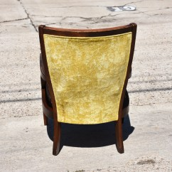 Yellow Upholstered Accent Chair Back Posture Support Vintage Light Cane