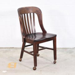 Antique Desk Chair Wheels Bean Bag Chairs For Adults Wooden W Loveseat Vintage Furniture