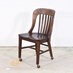 Desk Chairs On Wheels Leather Dining Chair Wooden W Loveseat Vintage Furniture