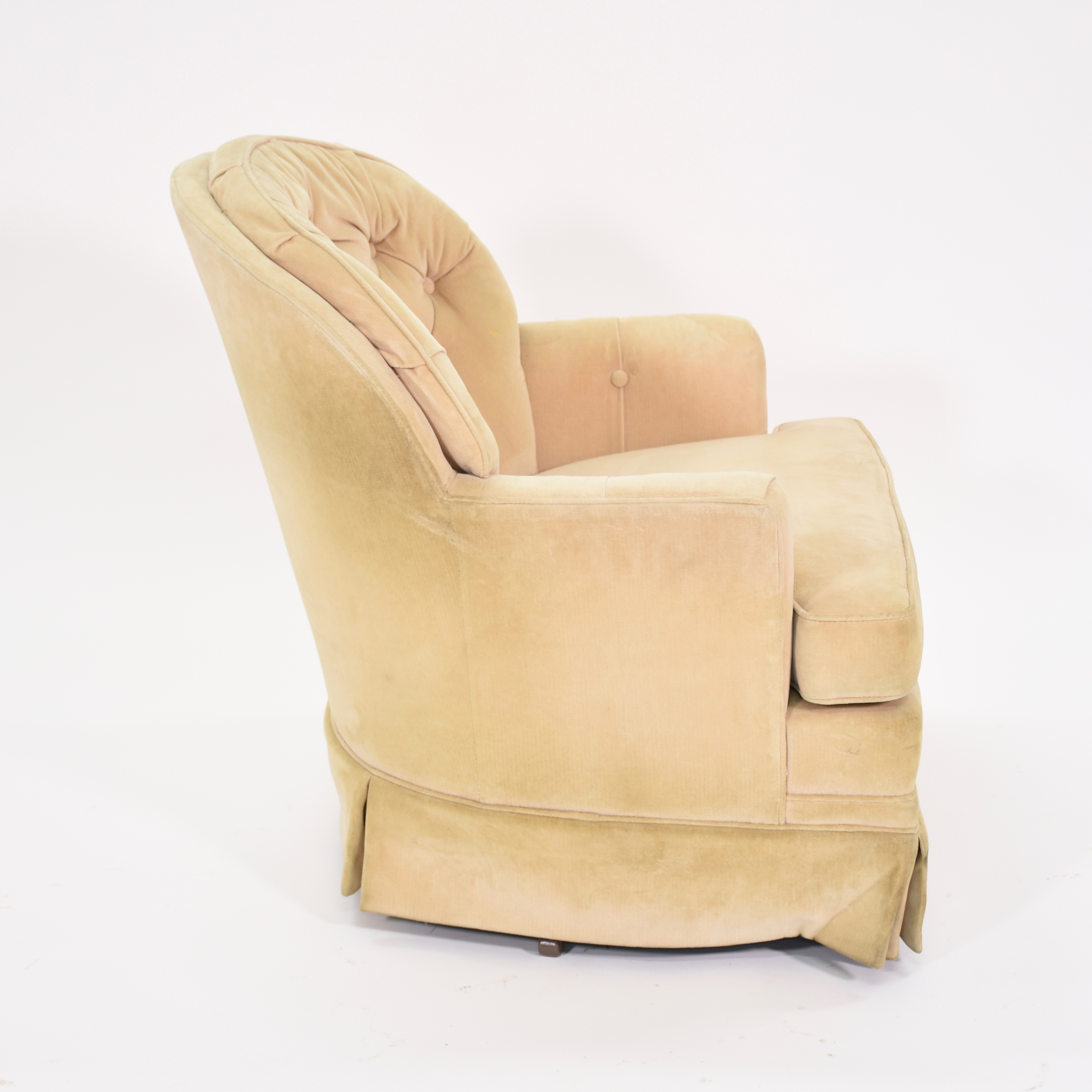 cream club chair tub with stool underneath upholstered swivel loveseat vintage
