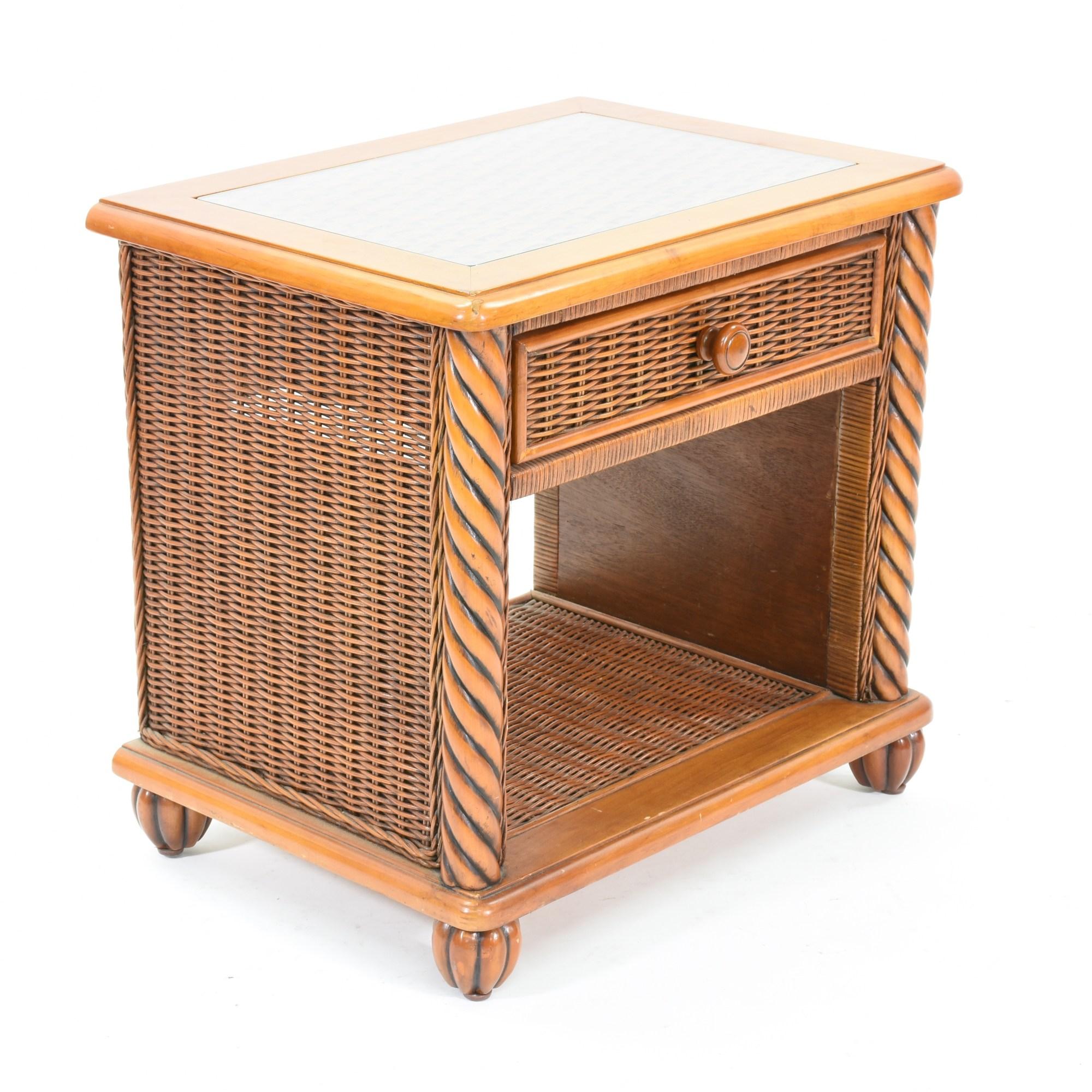 Pair Of Wicker Nightstands With Glass Top Loveseat Vintage Furniture San Diego & Los Angeles