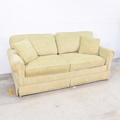 Sofa Cleaning Los Angeles Plastic Set Online In India Retro Green And Beige Patterned Loveseat Vintage