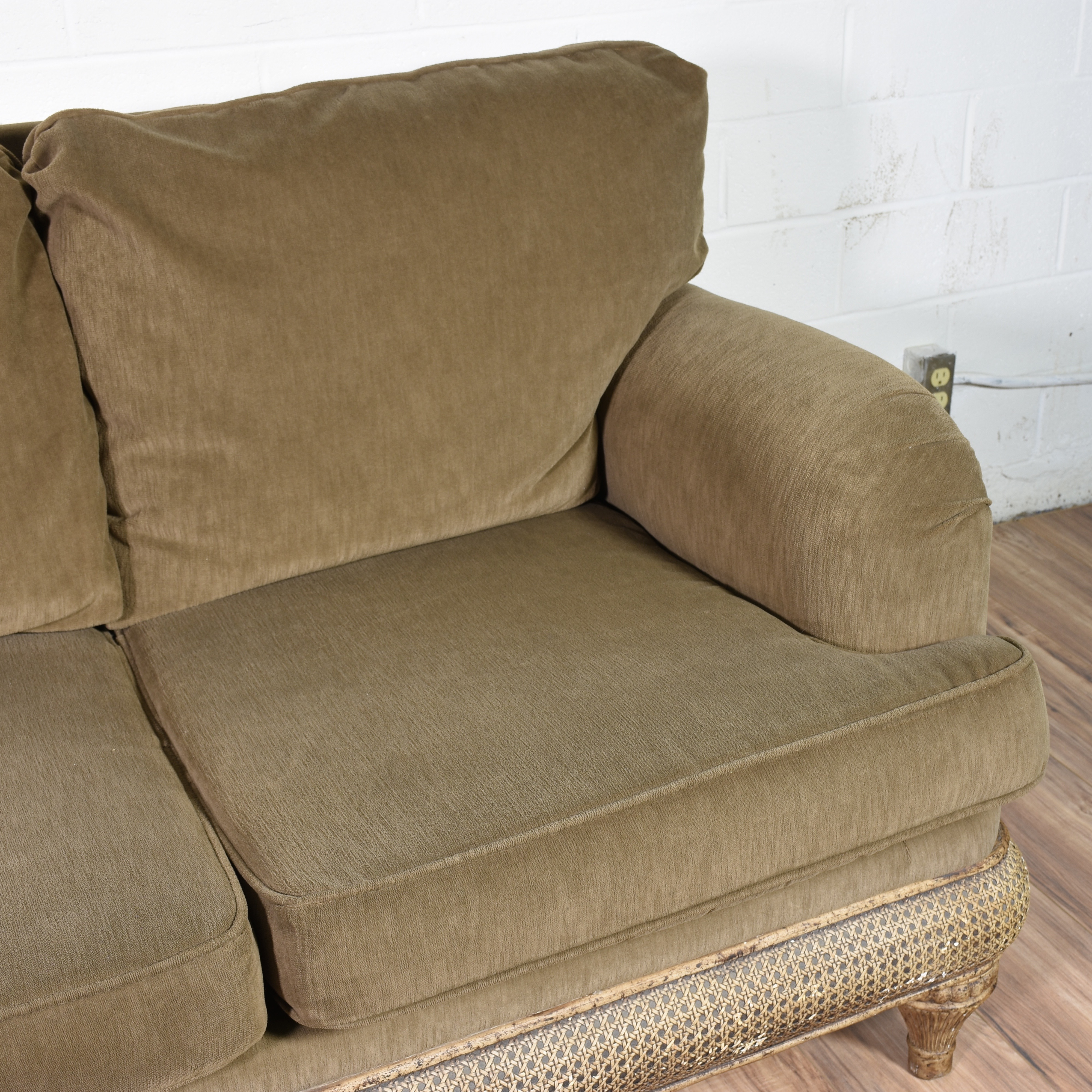 dark green recliner chair covers and sashes liverpool olive sofa loveseat vintage furniture san