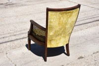 Vintage Light Yellow Upholstered Cane Accent Chair ...