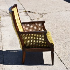 Yellow Upholstered Accent Chair Swing Dubai Vintage Light Cane
