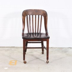 Old Wooden Desk Chair Best Baby For Eating W Wheels Loveseat Vintage Furniture