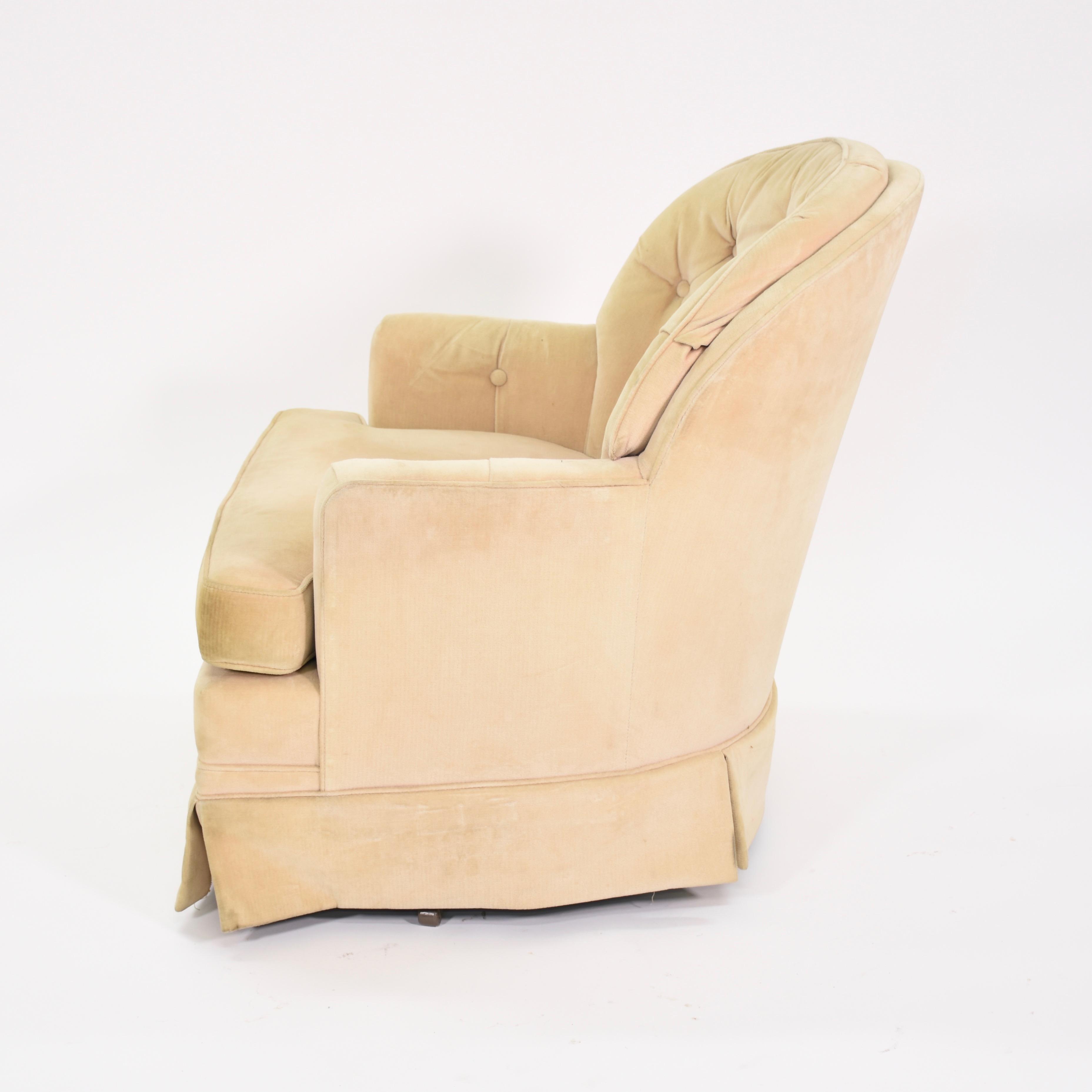 cream club chair swing rate upholstered swivel loveseat vintage