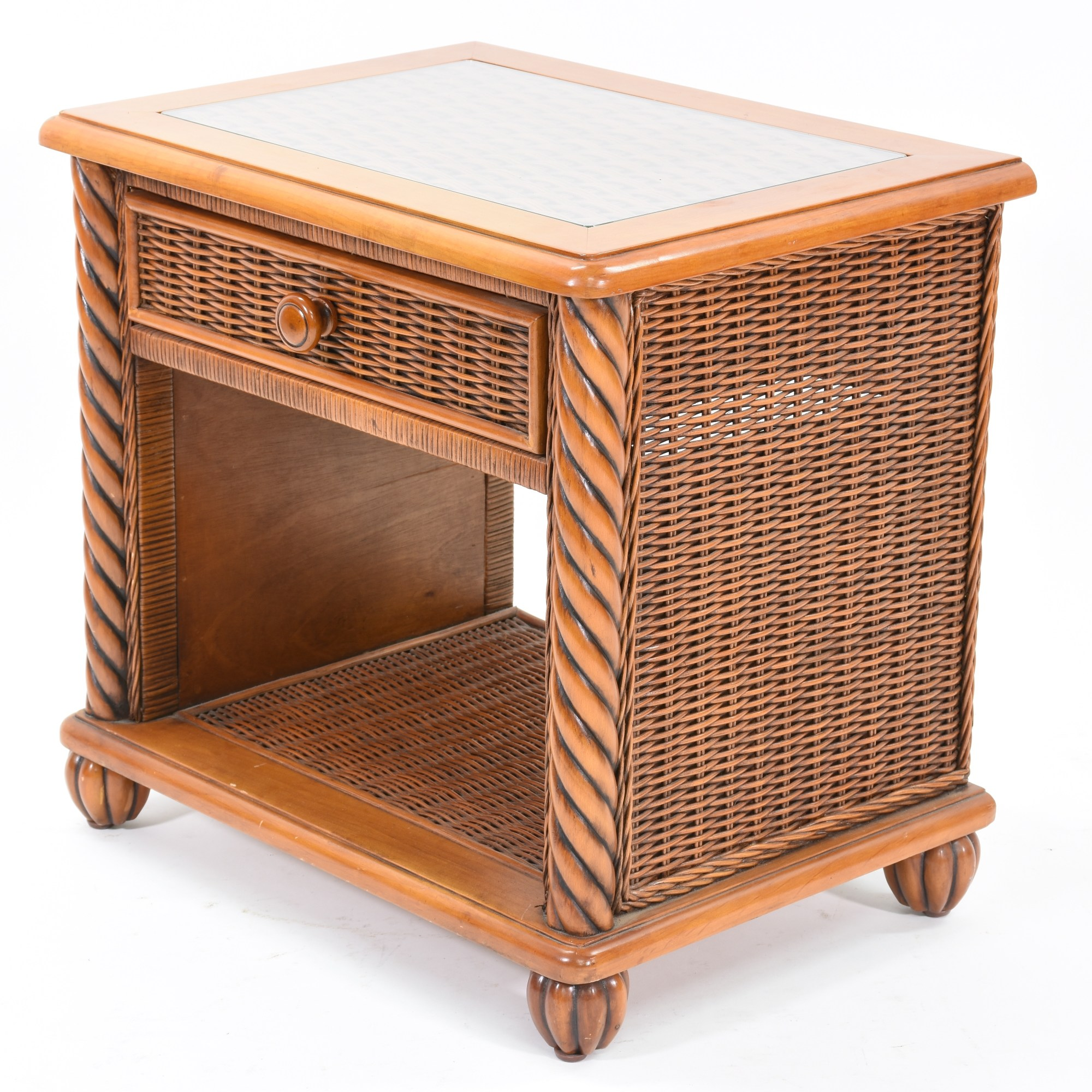 Pair Of Wicker Nightstands With Glass Top Loveseat Vintage Furniture San Diego & Los Angeles