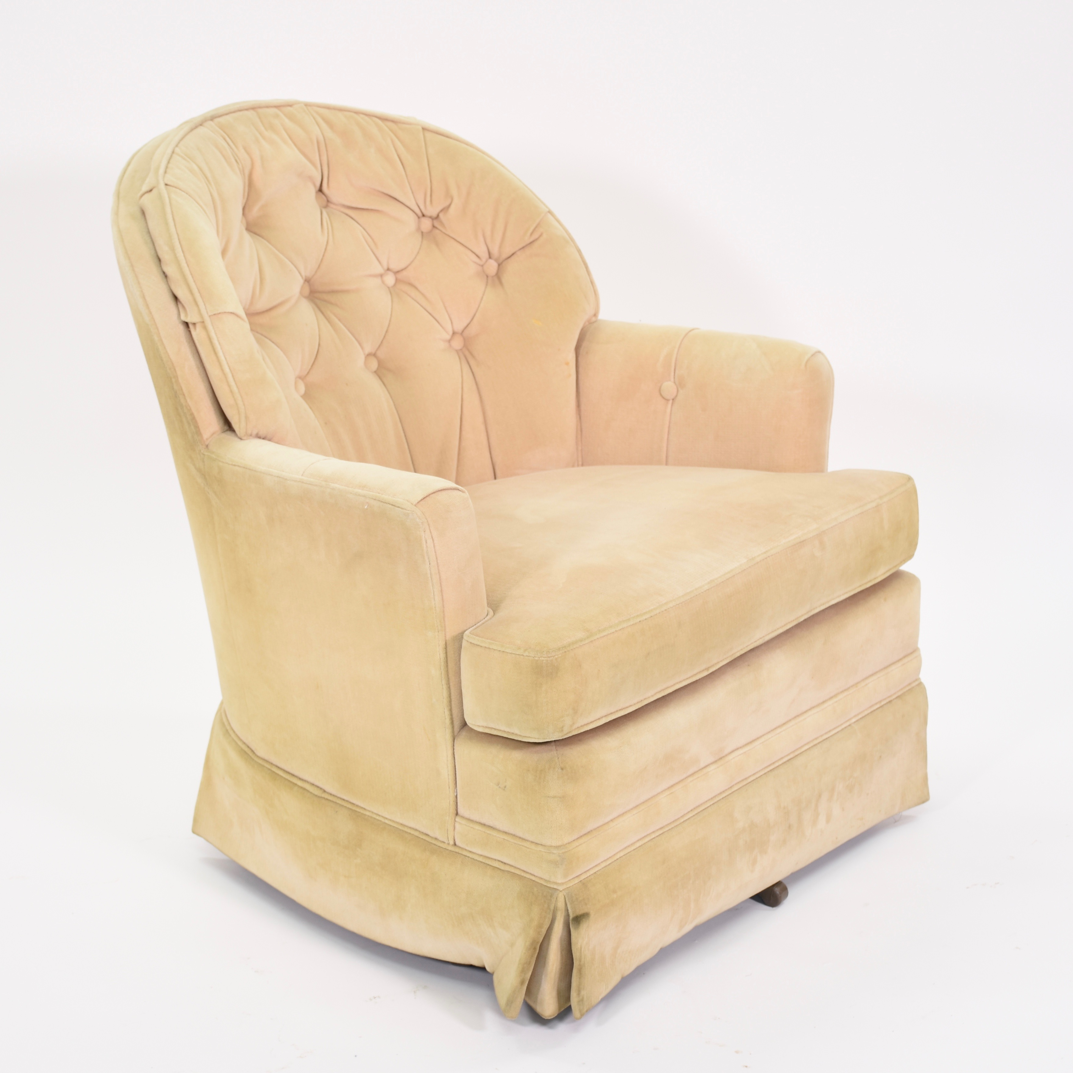 cream club chair foot massage upholstered swivel loveseat vintage