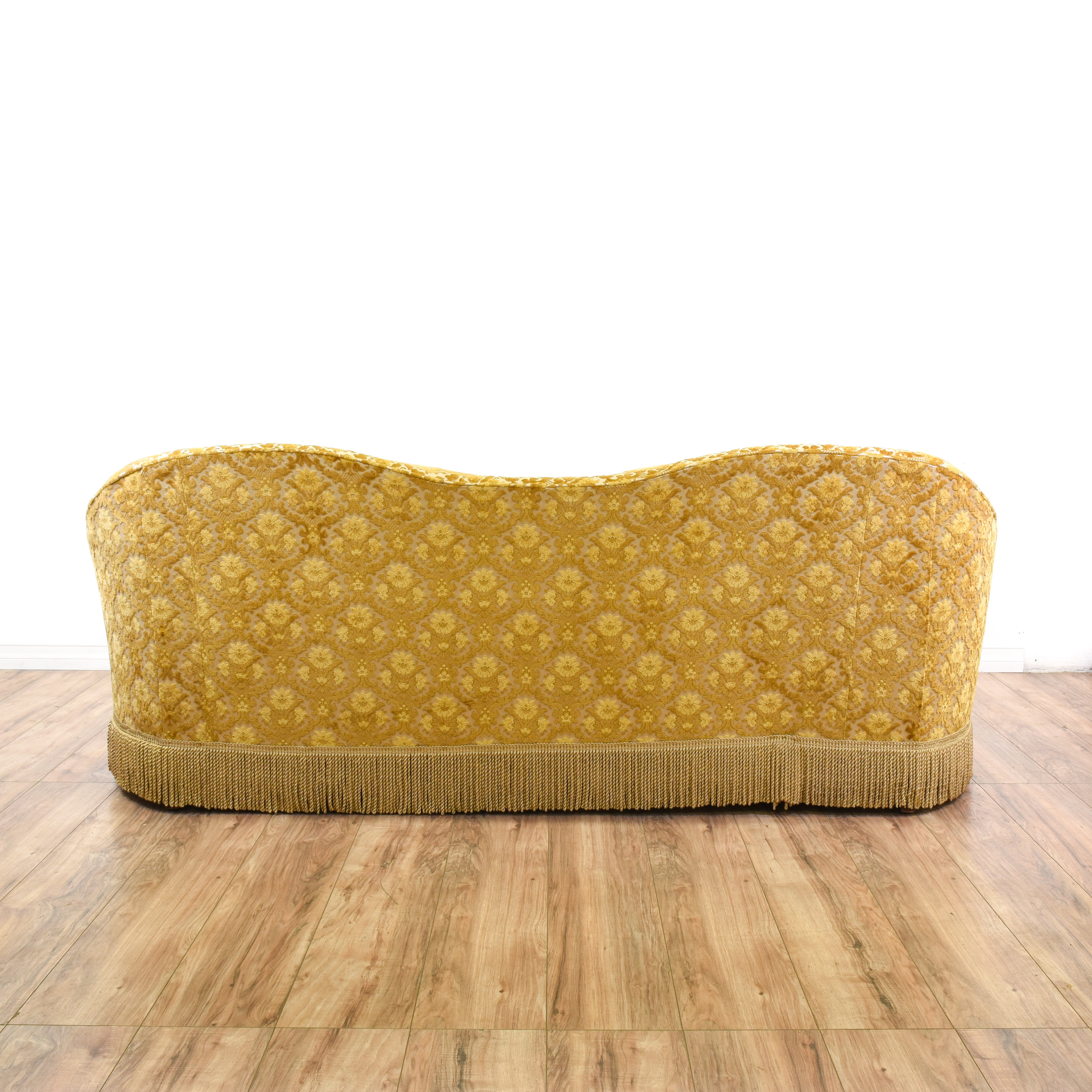 hollywood regency curved sofa how to get biro ink off leather brocade chenille loveseat vintage