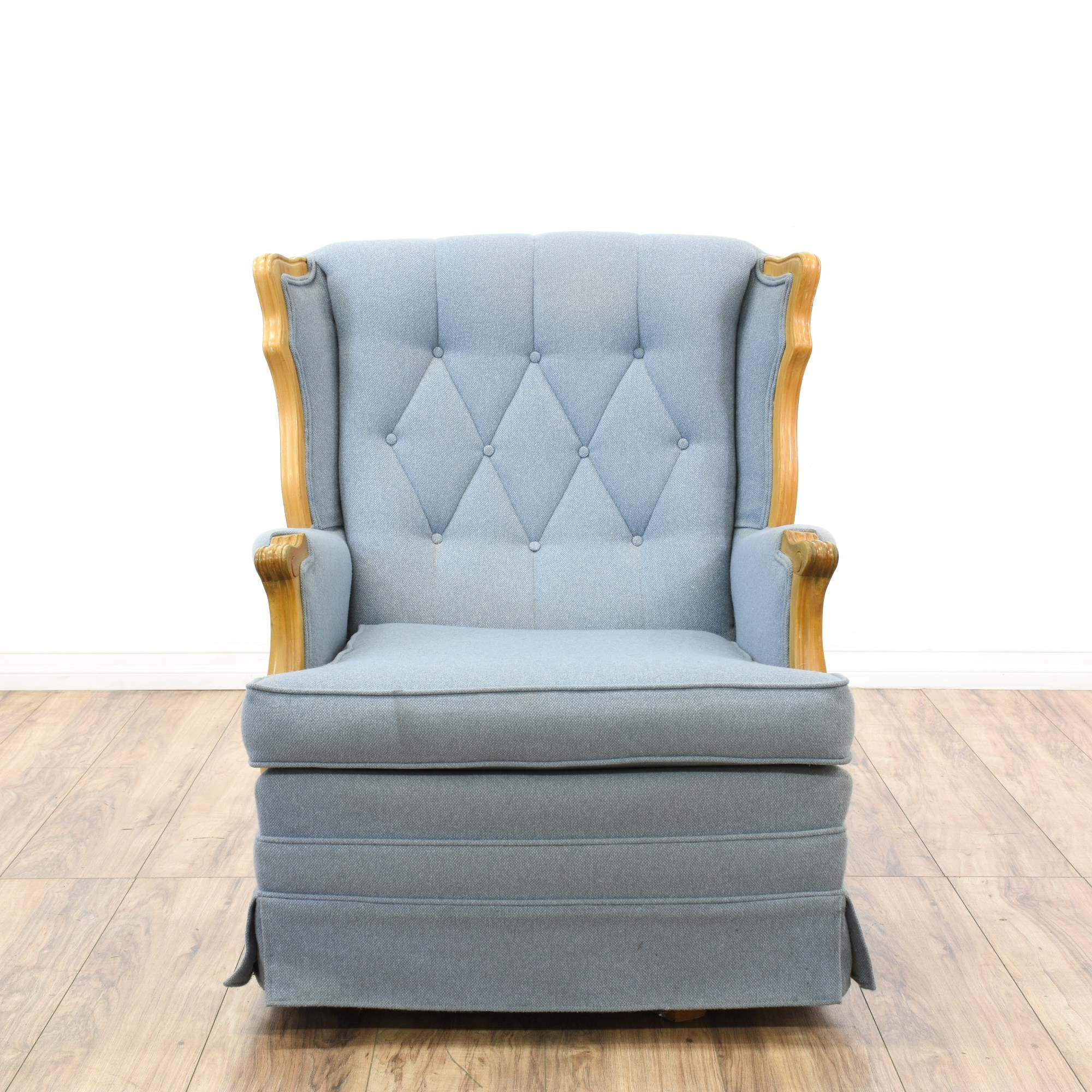 Blue Diamond Tufted Rocking Chair  Loveseat Vintage