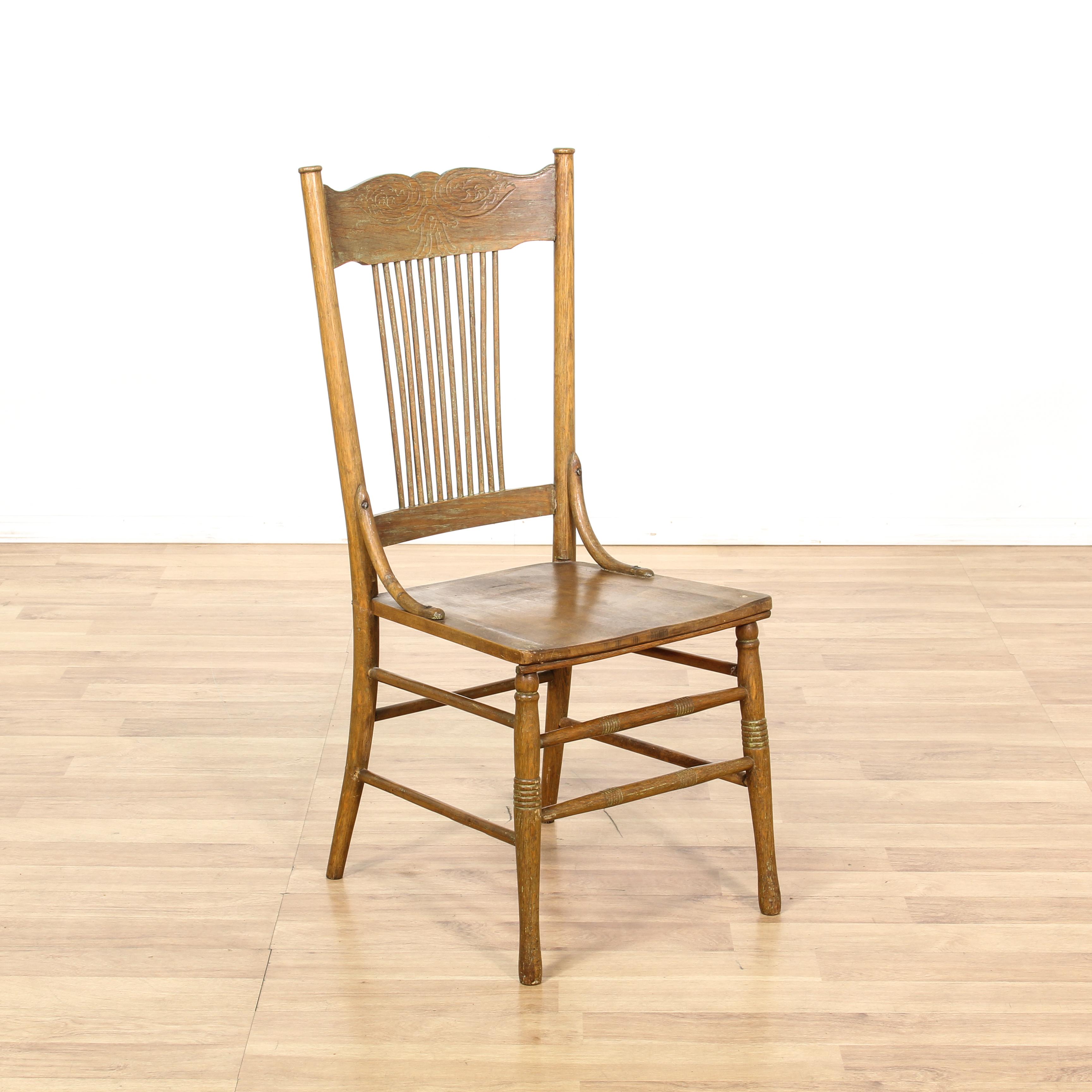 press back chair grey nursery uk rustic oak accent loveseat vintage