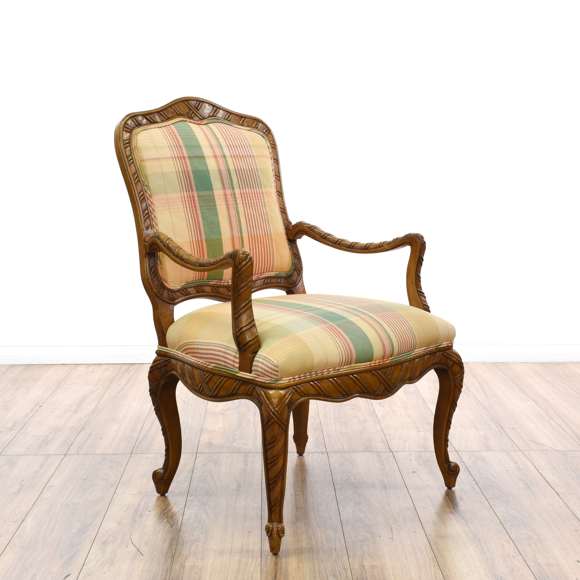 Plaid Chair Pair Of Madras Plaid Bergere Style Chairs Loveseat