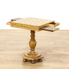 Chess Table And Chairs High Wooden Inlaid Wood Marquetry Loveseat
