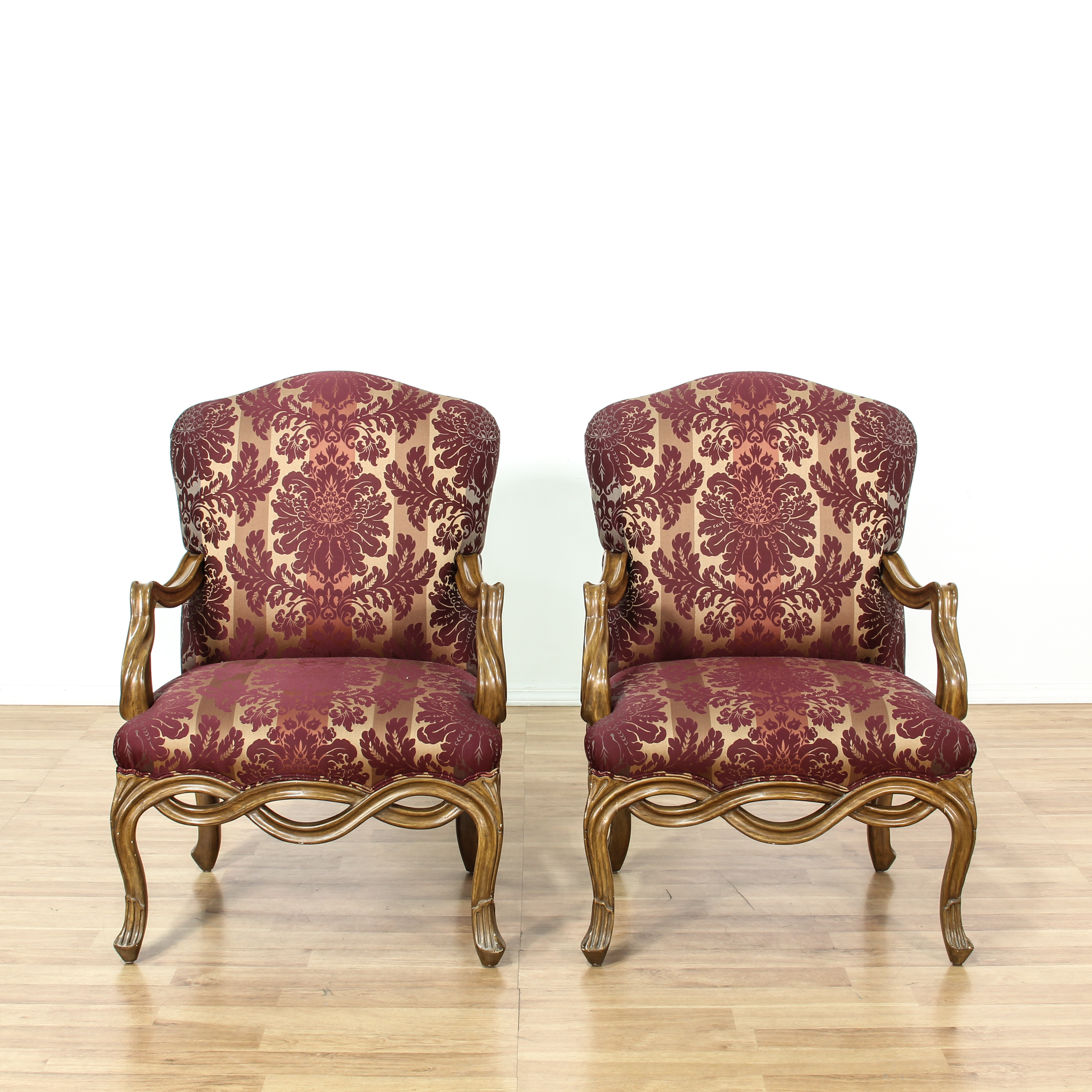 damask accent chair arne jacobsen chairs pair of purple striped loveseat