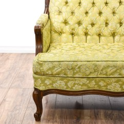 Green Floral Sofa Down Filled Sectional Yellow Tufted Loveseat