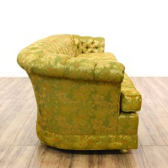 Green Floral Sofa Plush Bed Sale Yellow Tufted Chesterfield Loveseat