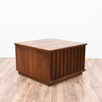 Carved Square Mid Century End Table Cabinet | Loveseat ...