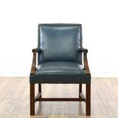 Teal Office Chair Power Chairs For Sale Blue Vinyl Wood Carved Executive Loveseat