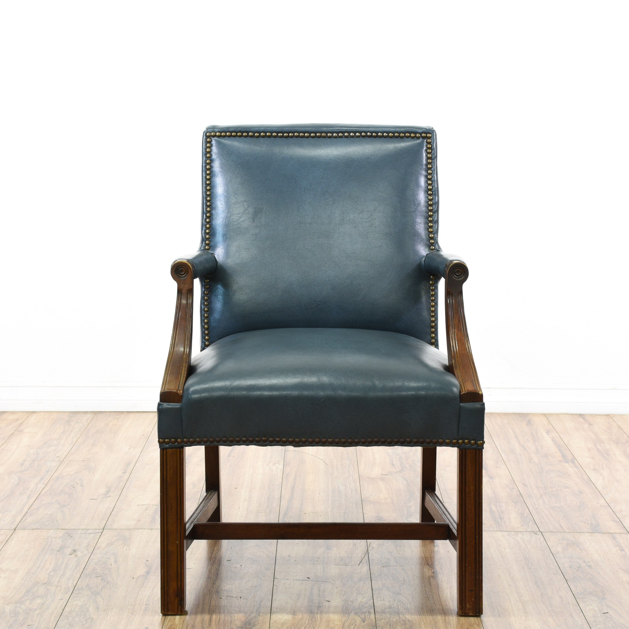 Teal Leather Chair Teal Blue Vinyl Wood Carved Executive Chair Loveseat