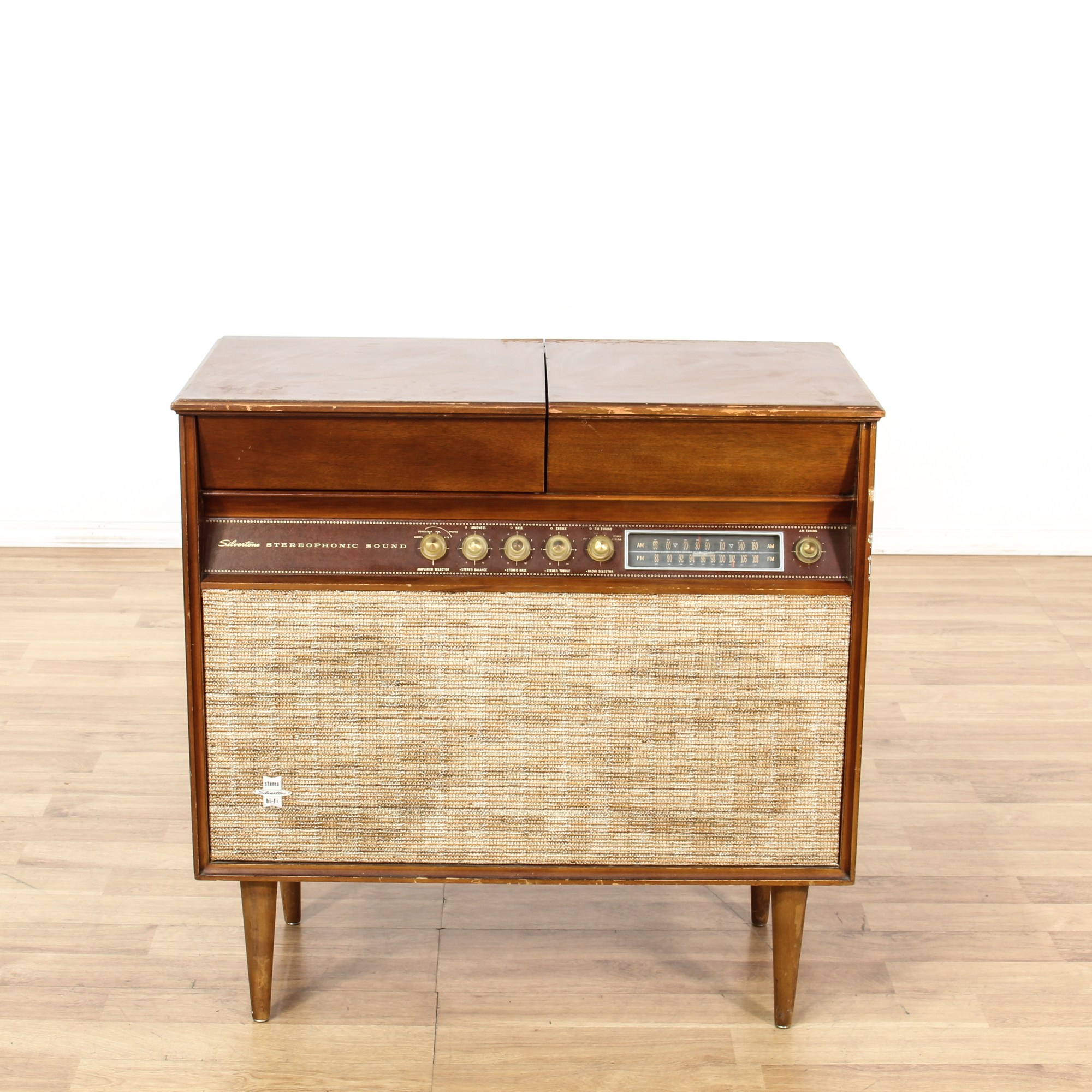 Silvertone Mid Century Stereo Turn Table Cabinet