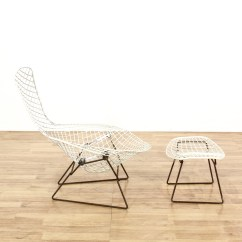 Bertoia Style Chair White Harry Bird Wire And Stool