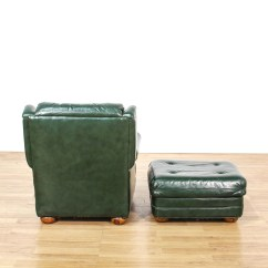 Dark Green Recliner Chair Wooden Potty With Tray Leather Upholstered And Ottoman Loveseat