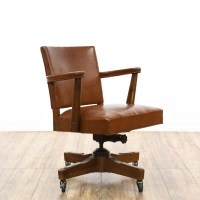 Mid Century Tan Faux Leather Rolling Office Chair ...