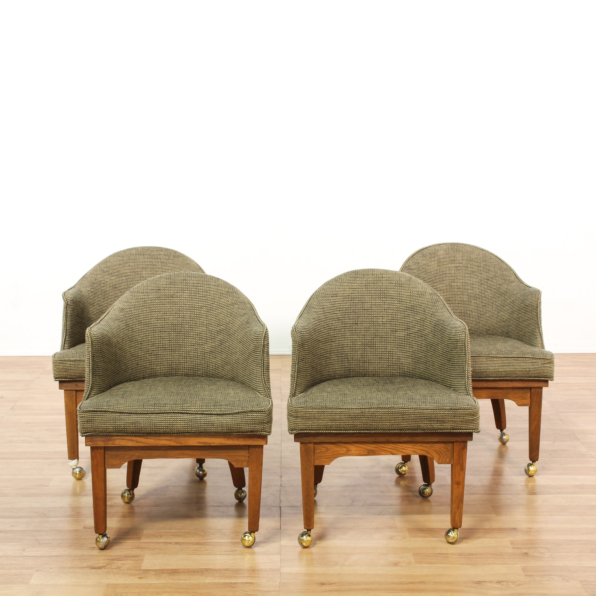 Set of 4 Rolling Upholstered Barrel Chairs  Loveseat