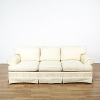 Damask Brocade White Sofa | Loveseat Vintage Furniture San ...
