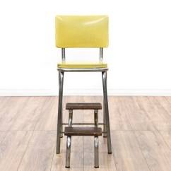 Old Fashioned Kitchen Chair Step Stool Cheap Cart Retro Industrial Yellow Loveseat Vintage