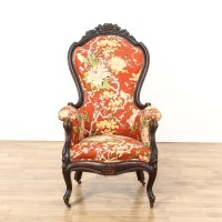 Red Floral Upholstered Carved Victorian Side Chair