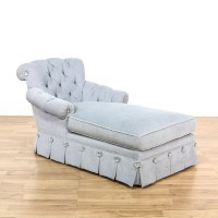 Cottage Chic Light Blue Tufted Chaise Lounge | Loveseat ...
