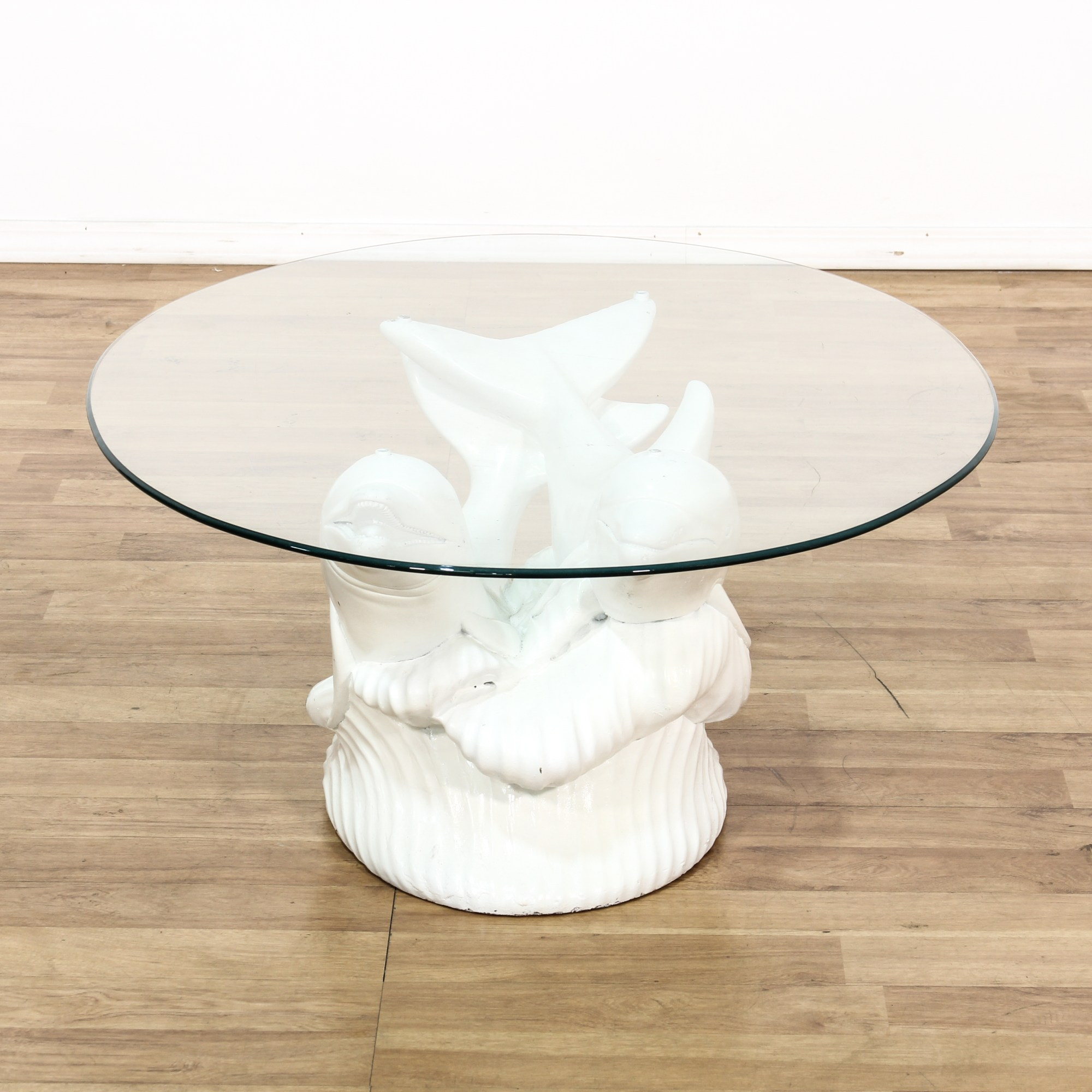 Glass Top Dolphin Sculpture Coffee Table Loveseat