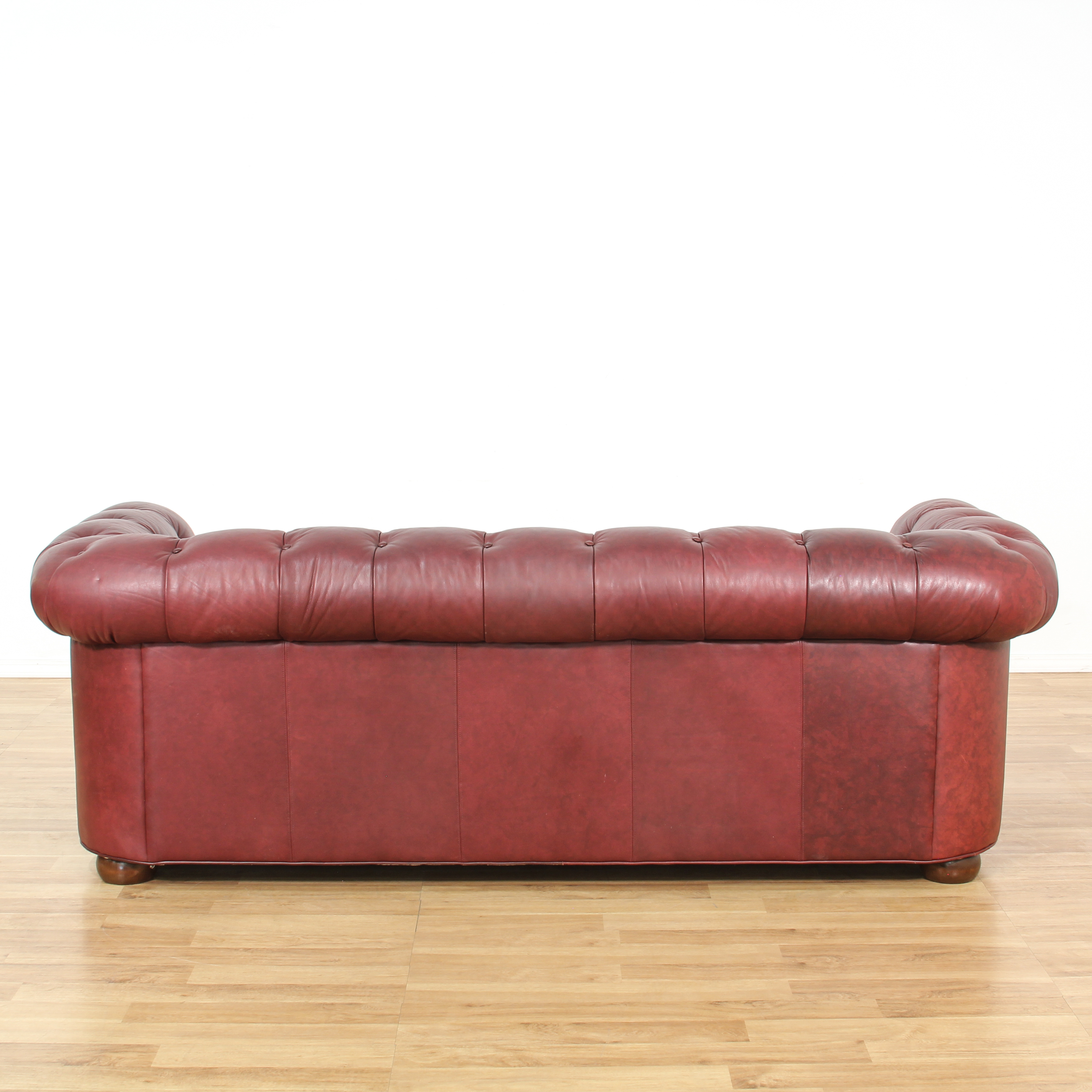 burgundy leather sofa and loveseat buy a bed tufted vintage furniture