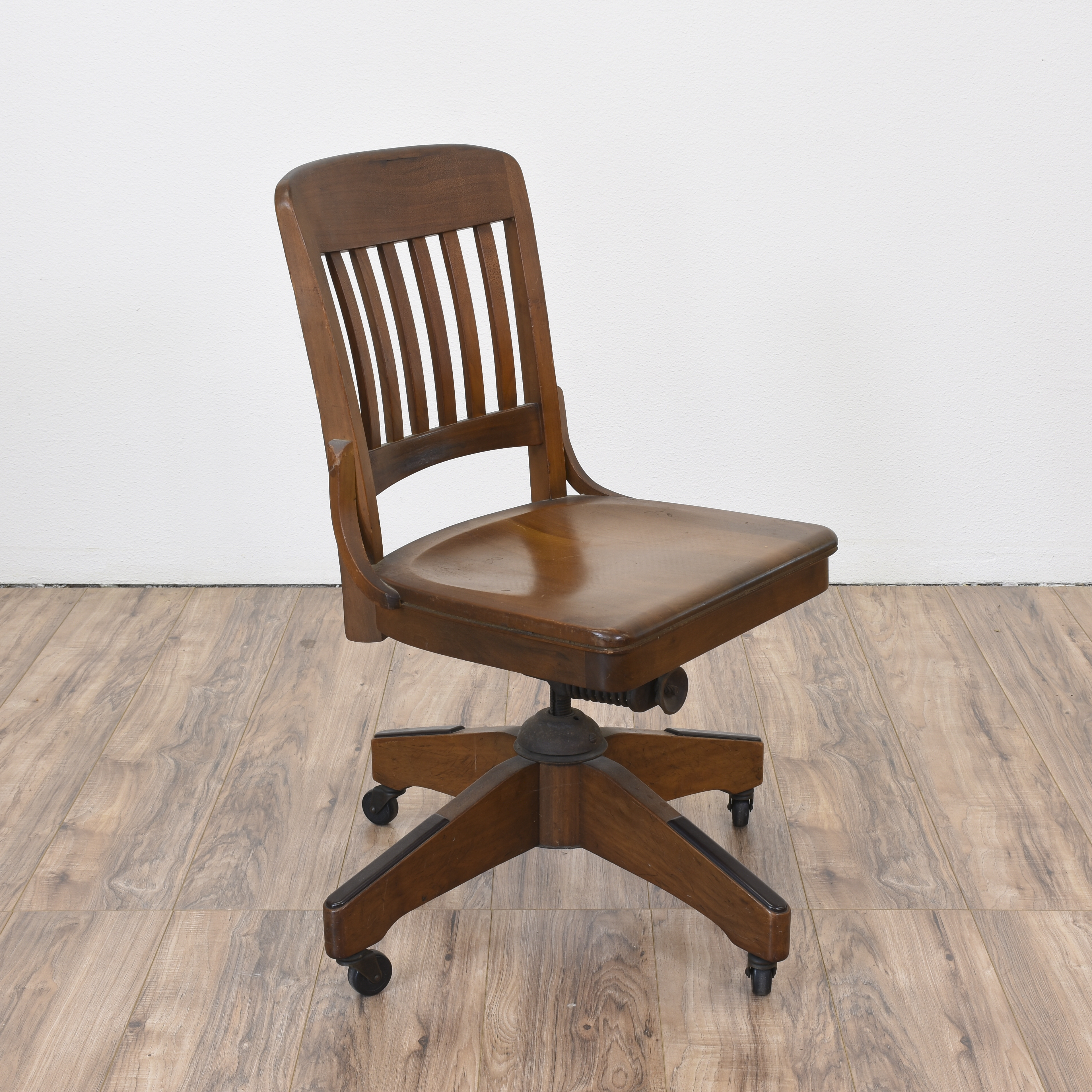 antique desk chair wheels xl dining room covers solid wood office w casters loveseat vintage