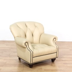 Cream Club Chair Kartell Audrey Fantastic Leather Button Tufted