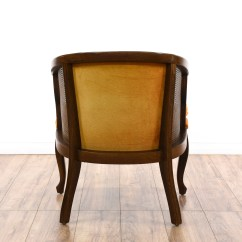 Barrel Accent Chair Chairs For Worship Burnt Orange Tufted Cane Back