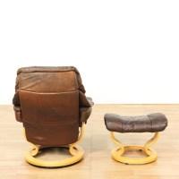 """Ekornes"" Brown Leather Chair & Ottoman | Loveseat Vintage ..."