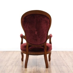 Victorian Accent Chair Graco High Tray Red Velvet Spoon Back Loveseat